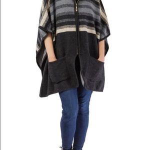 Nordstrom Striped Faux Fur Ruana One Size